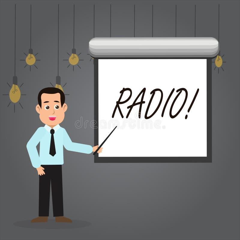 Radio del testo di scrittura di parola Il concetto di affari per attrezzatura elettronica utilizzata per ascoltare i programmi di royalty illustrazione gratis