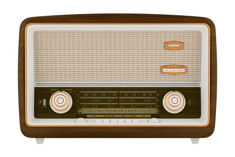 Radio del vintage aislada en blanco stock de ilustración