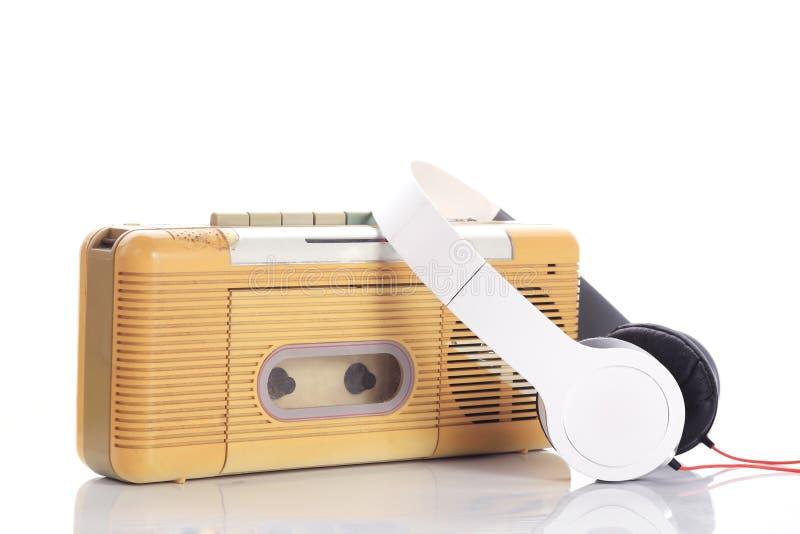 Radio di musica e cuffia bianca fotografia stock