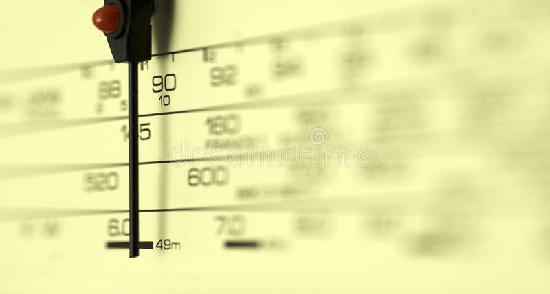Radio dial. Radio tuning dial; strong differential focus; blurred area allows for copy-space royalty free stock images