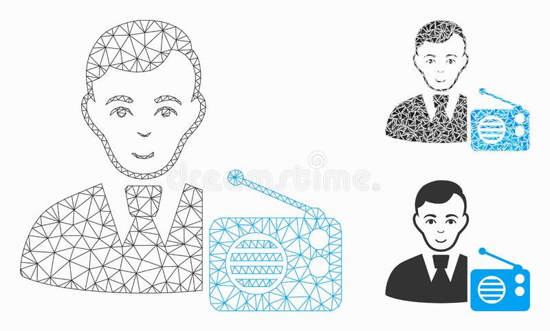 Radio Dictor Vector Mesh Carcass Model and Triangle Mosaic Icon. Mesh radio dictor model with triangle mosaic icon. Wire carcass triangular mesh of radio dictor vector illustration