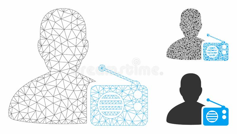 Radio Dictor Vector Mesh Carcass Model and Triangle Mosaic Icon. Mesh radio dictor model with triangle mosaic icon. Wire carcass polygonal mesh of radio dictor vector illustration