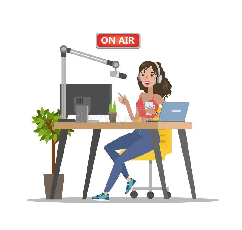 Radio dj na powietrzu royalty ilustracja