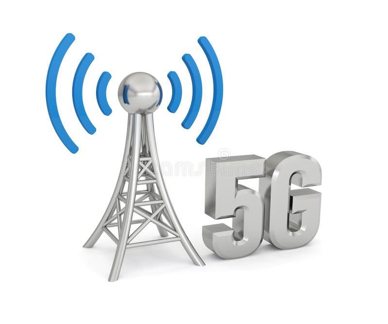 Radio du r?seau 5G d'antenne illustration stock
