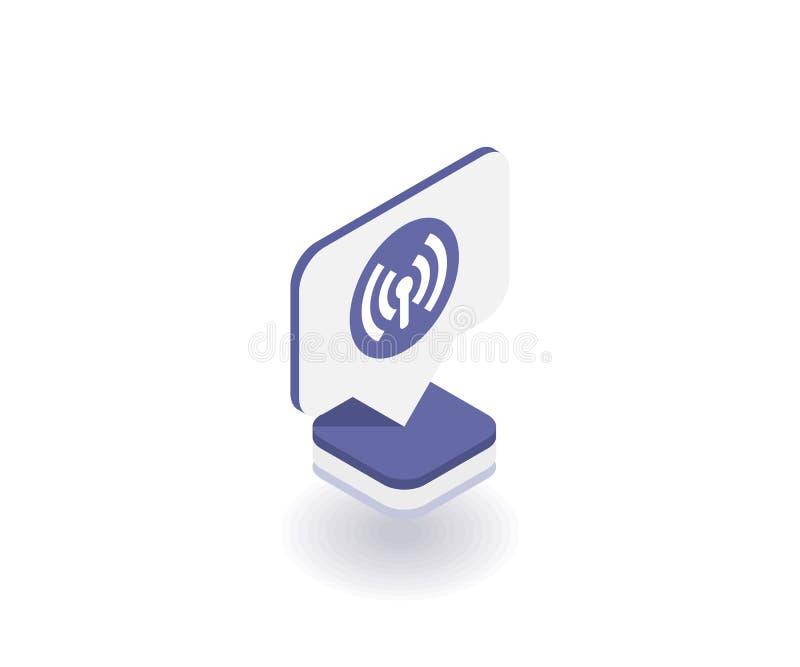 Radio e icono de Wi-Fi, símbolo del vector en el estilo isométrico plano 3D aislado en el fondo blanco Medios ejemplo social ilustración del vector