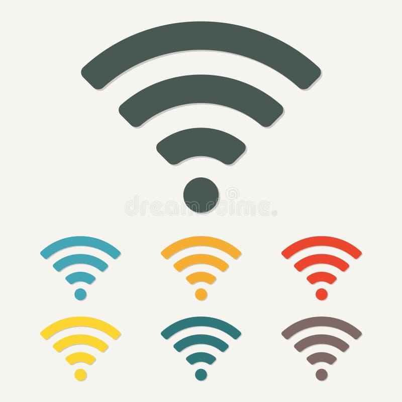 Radio e icono o muestra del wifi para el acceso a internet remoto Símbolo del podcast Ilustración colorida del vector libre illustration