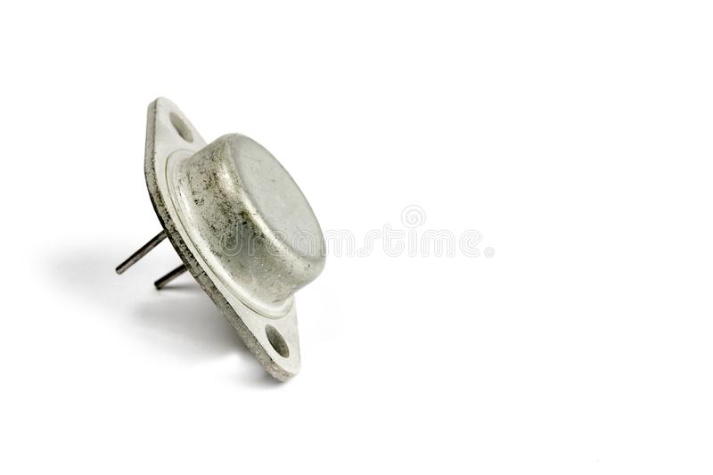 Radio element, a very old diode close-up, on a white background. Radio element, a very old diode close-up, on a white background royalty free stock photos