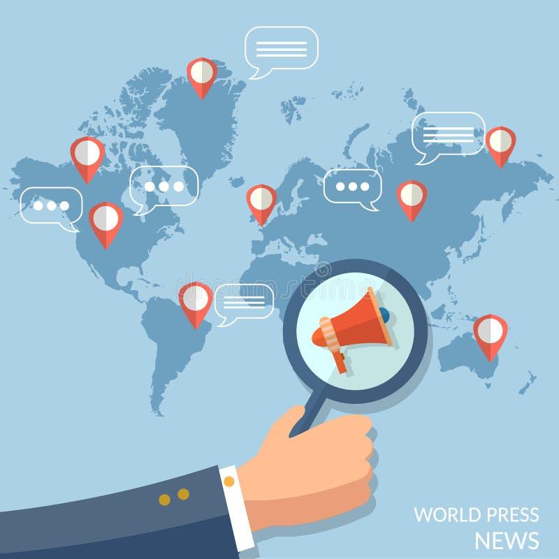 Radio en línea de la televisión del concepto global de las noticias de mundo stock de ilustración