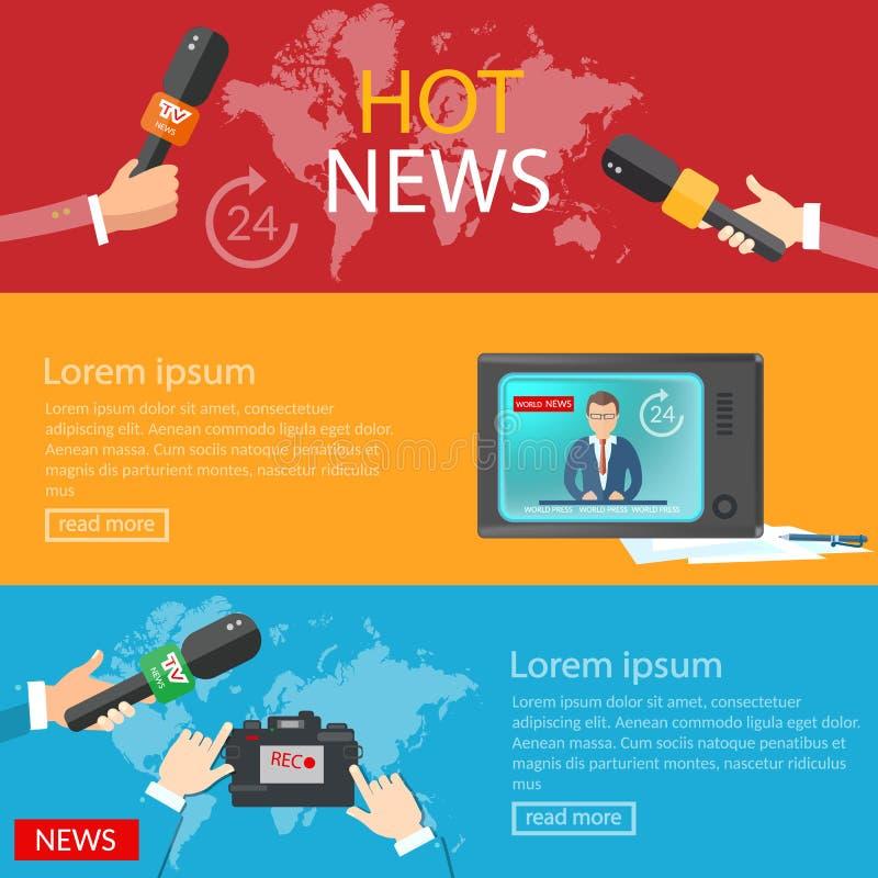 Radio en línea global de las telecomunicaciones TV de las banderas de las noticias de mundo stock de ilustración
