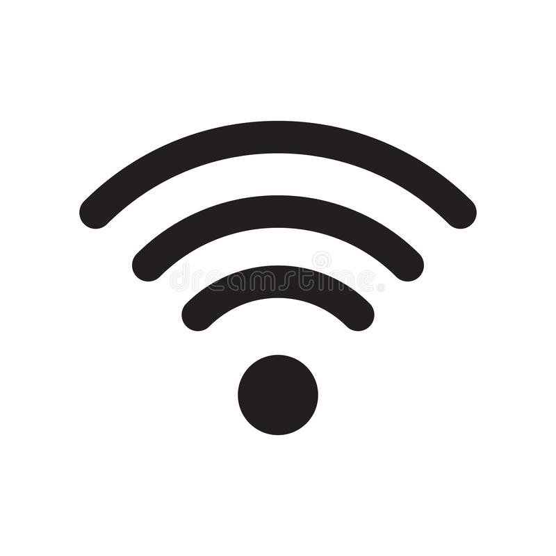 Radio en wifipictogram of WiFi-pictogramteken voor verre internettoegang vector illustratie