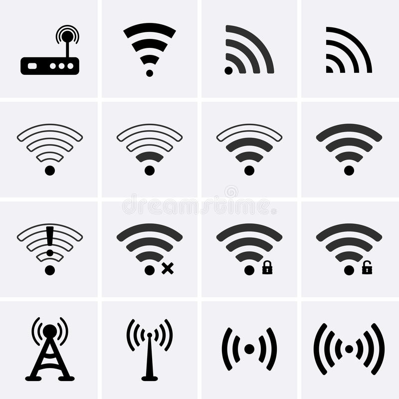 Radio en wifipictogrammen vector illustratie