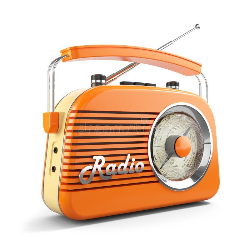 Radio för orange FM för tappning bärbar 3d stock illustrationer
