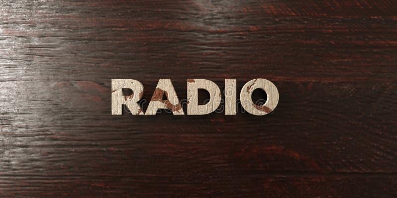 Radio - grungy drewniany nagłówek na klonie - 3D odpłacający się królewskość bezpłatny akcyjny wizerunek ilustracja wektor