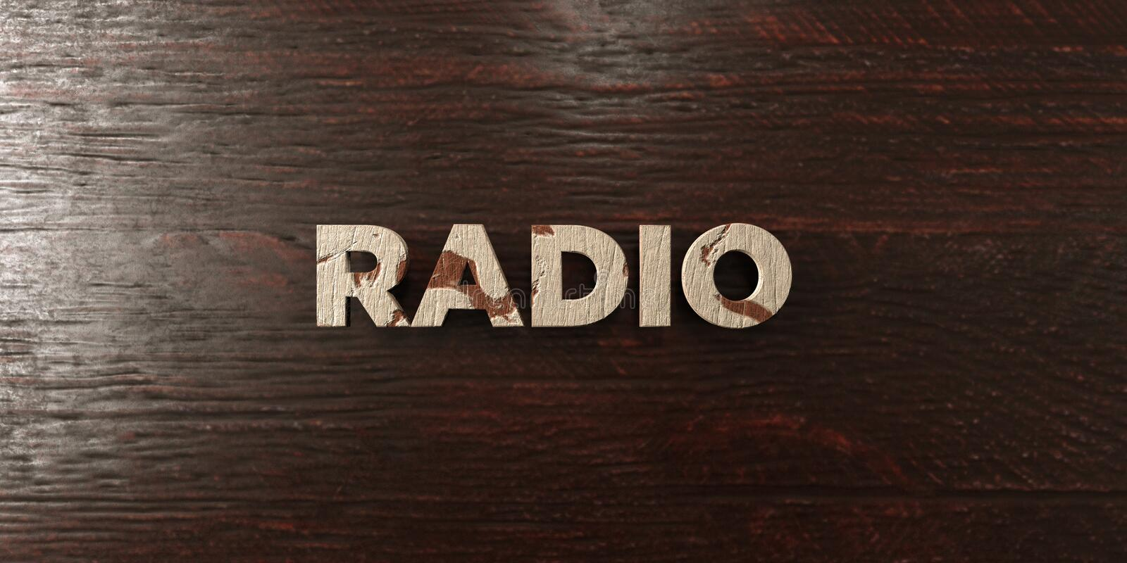 Radio - grungy wooden headline on Maple - 3D rendered royalty free stock image. This image can be used for an online website banner ad or a print postcard vector illustration