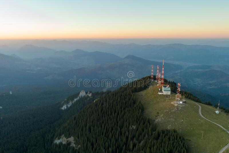 Radio and gsm antenna on the top of the mountains ,telecommunications towers. Radio and gsm antenna on the top of the mountains , radio station antenna stock images