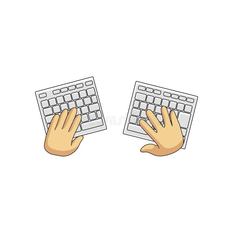 Radio hazardu rozszczepiona klawiatura i użytkownik wręczamy odosobnionego na białym tle ilustracji