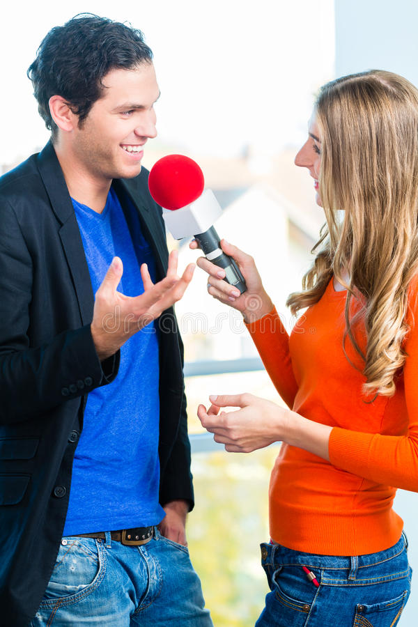 Radio Host In Radio Stations With Interview Royalty Free Stock Photography