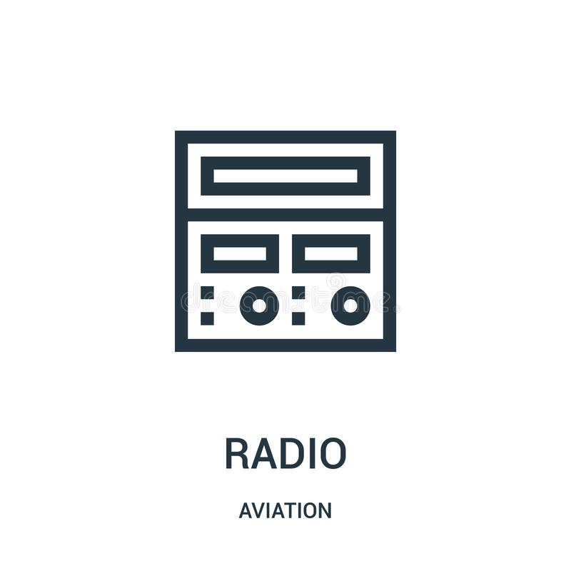 Radio icon vector from aviation collection. Thin line radio outline icon vector illustration. Linear symbol for use on web and. Mobile apps, logo, print media stock illustration