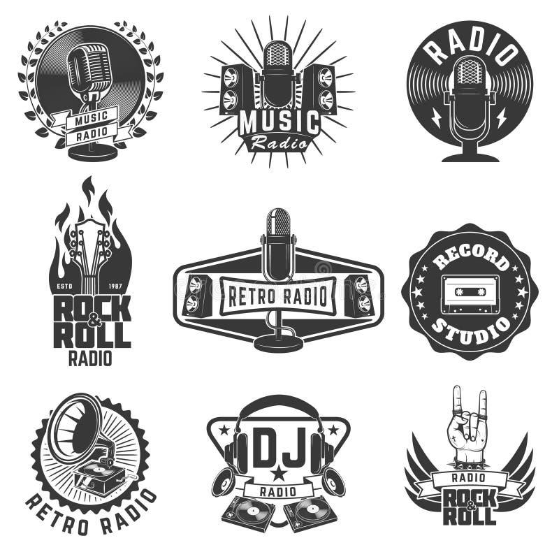 Radio labels. Retro radio, record studio, rock and roll radio em vector illustration