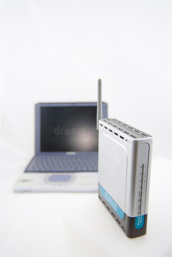 radio laptopa routera srebra fotografia stock