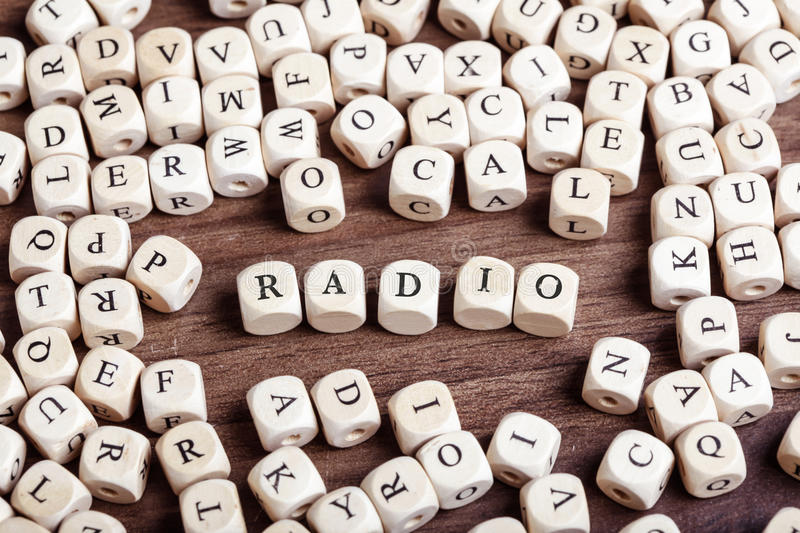 Radio, letter dices word stock image
