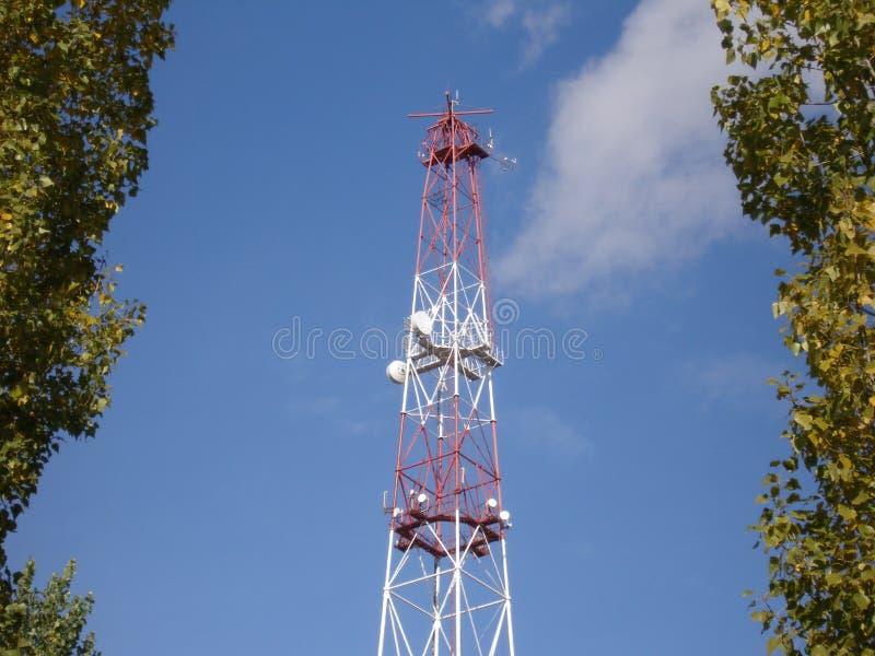 Radio mast. Mast with communication and meteo equipment stock image