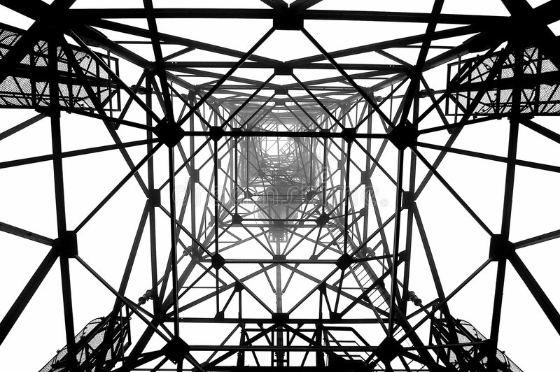 Radio mast pylon stock photo