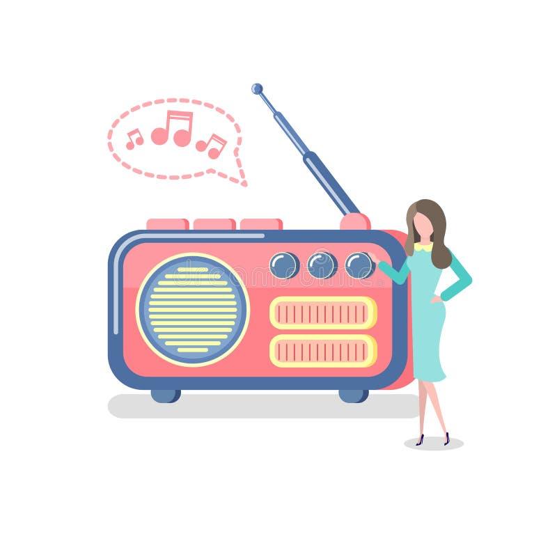 Radio met Antenne, Vrouw die aan Apparaat luisteren stock illustratie