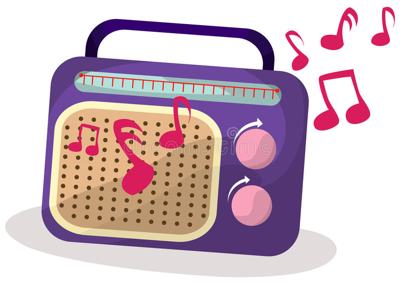 Radio met melodie stock illustratie