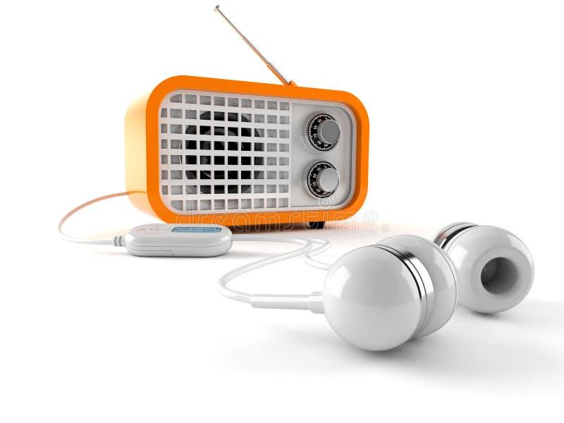 Radio met oortelefoons stock illustratie