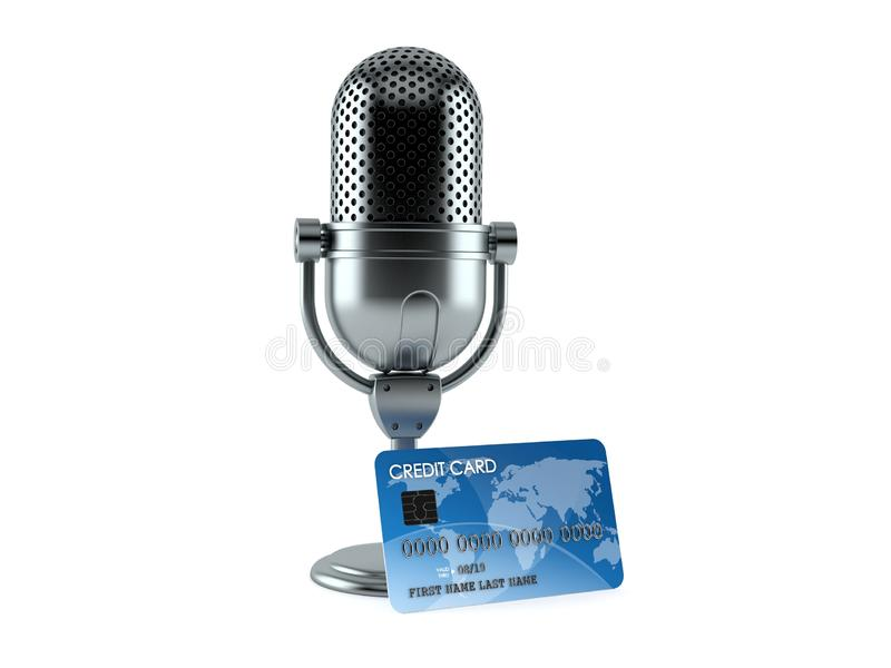 Radio microphone with credit card. Isolated on white background. 3d illustration vector illustration
