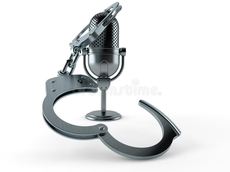 Radio microphone with handcuffs. Isolated on white background. 3d illustration vector illustration