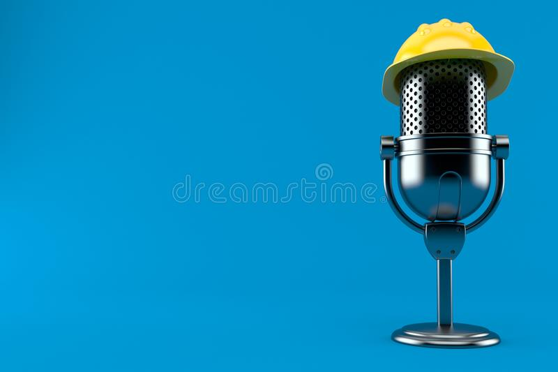 Radio microphone with hardhat. Isolated on blue background. 3d illustration stock illustration