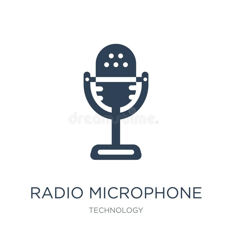Radio microphone icon in trendy design style. radio microphone icon isolated on white background. radio microphone vector icon. Simple and modern flat symbol stock illustration