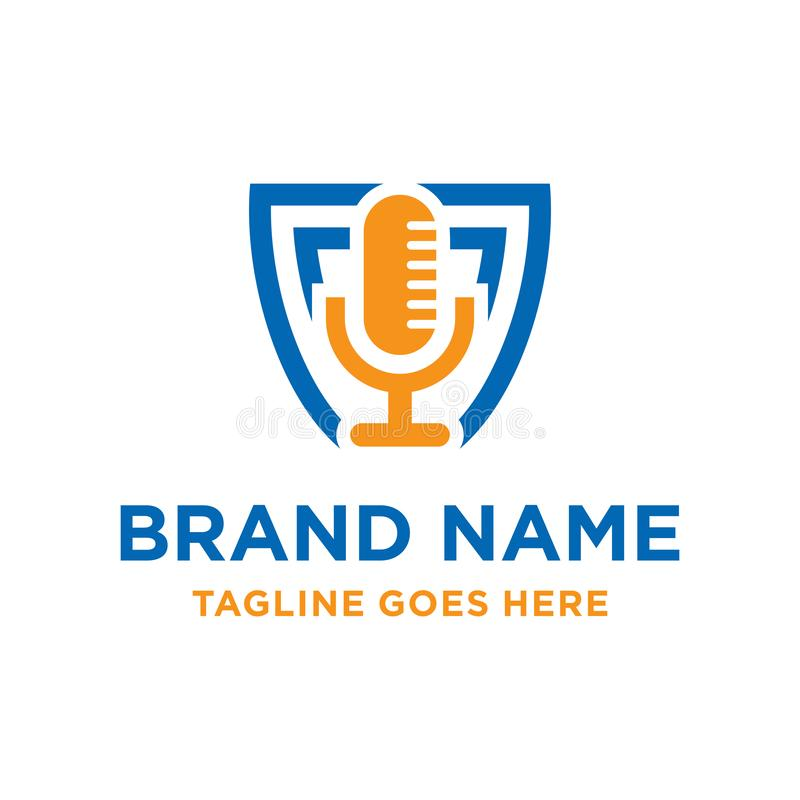 Radio microphone logo design. Your company royalty free illustration