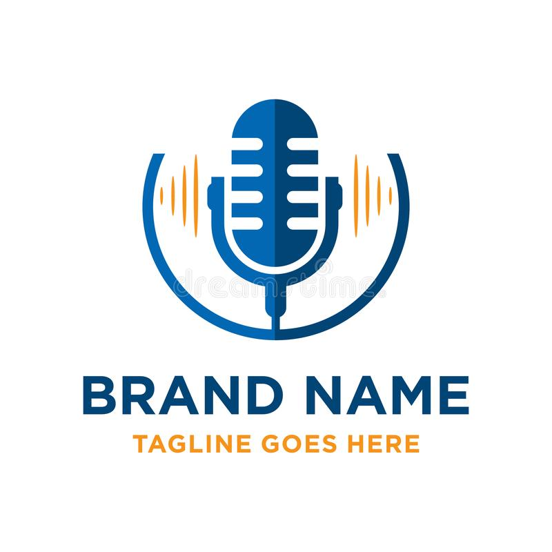 Radio microphone logo design. Your company vector illustration