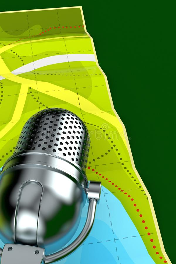 Radio microphone with map. On green background. 3d illustration vector illustration