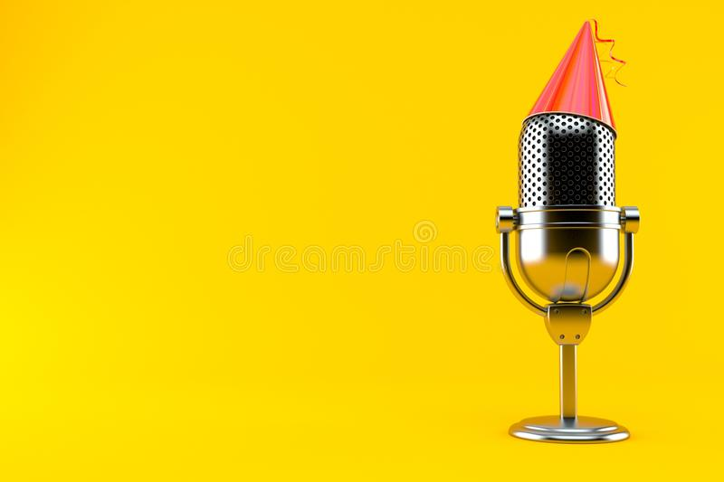 Radio microphone with party hat. Isolated on orange background. 3d illustration vector illustration