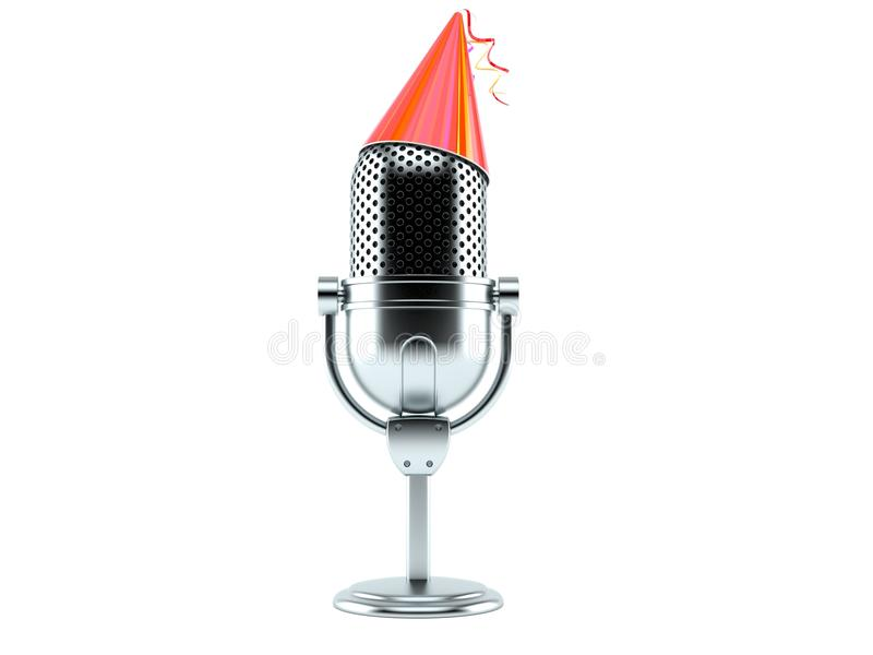Radio microphone with party hat. Isolated on white background royalty free illustration