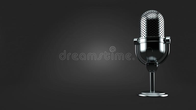 Radio microphone. On gray background. 3d illustration royalty free illustration