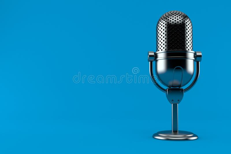 Radio microphone. Isolated on blue background. 3d illustration royalty free illustration