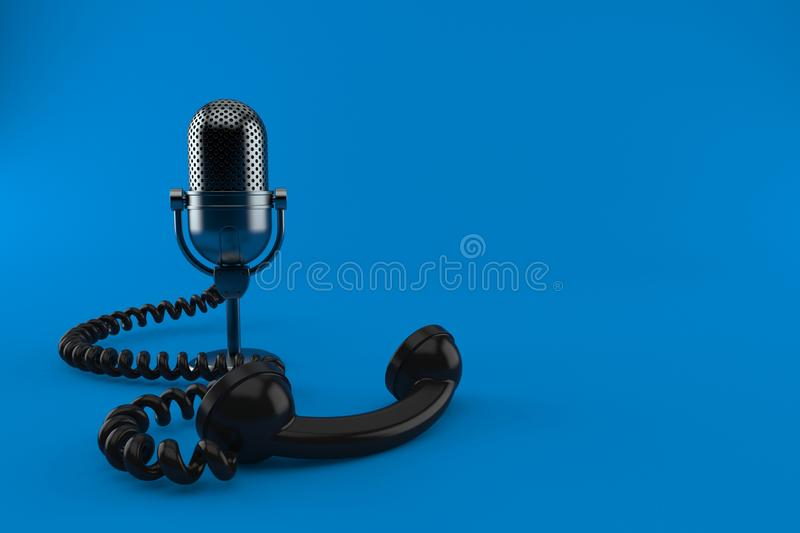 Radio microphone with telephone handset. Isolated on blue background. 3d illustration vector illustration