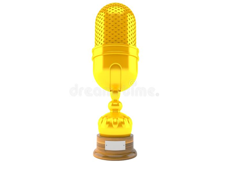 Radio microphone trophy. Isolated on white background. 3d illustration stock illustration