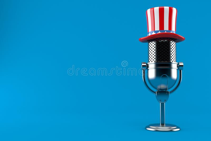 Radio microphone with usa hat. Isolated on blue background. 3d illustration vector illustration