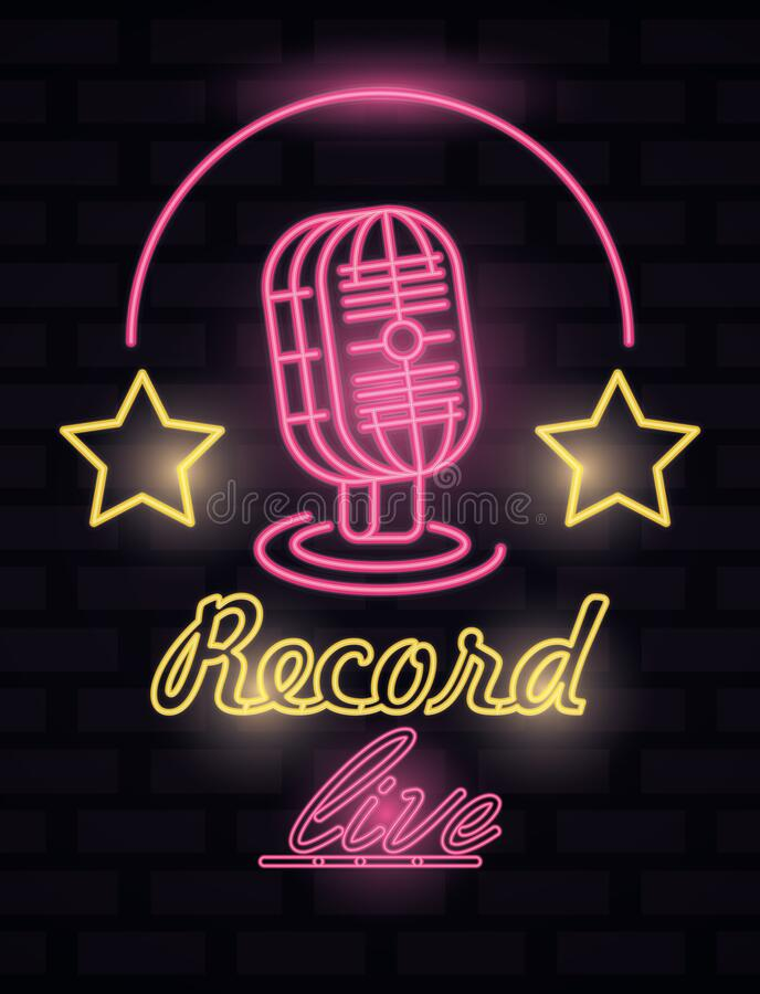 Radio music record label neon lights stock illustration