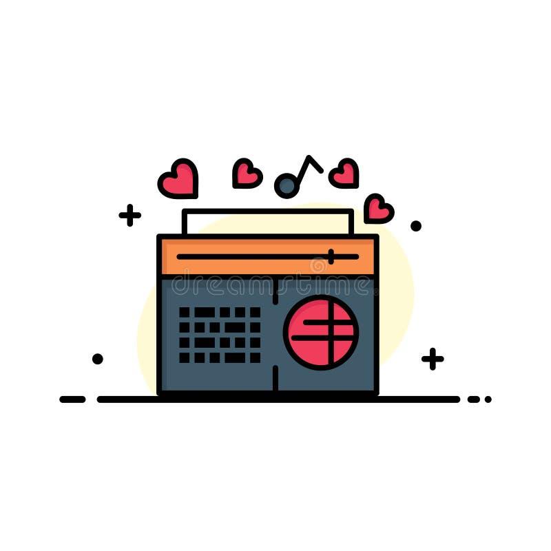 Radio, musique, FM, haut-parleur, ligne plate calibre rempli d'affaires de chansons de bannière de vecteur d'icône illustration stock