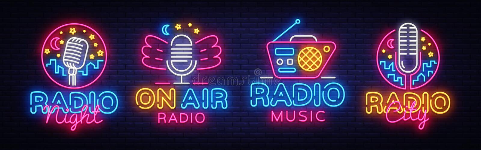 Radio Neon Sign collection Vector. Radio Night neon logos, design template, modern trend design, Radio neon signboard. Night bright advertising, light banner royalty free illustration