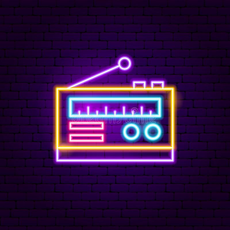 Radio Neon Sign royalty free illustration