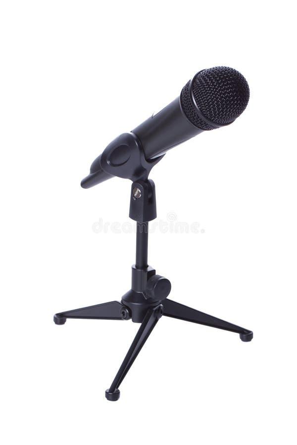 Radio nera mic sul basamento fotografie stock libere da diritti
