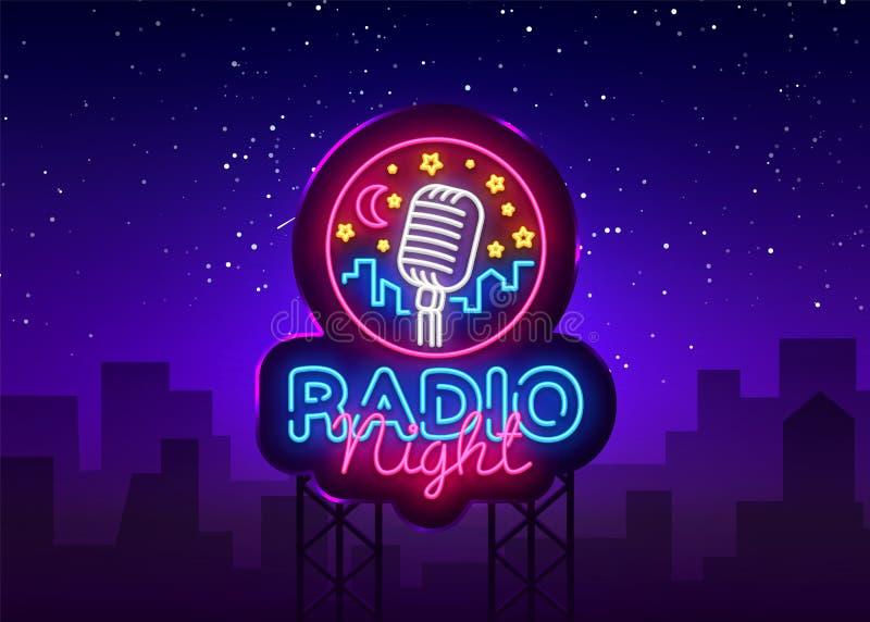 Radio Night Neon Logo Vector. Radio Night neon sign, design template, modern trend design, Radio neon signboard, night. Bright advertising, light banner, light royalty free illustration